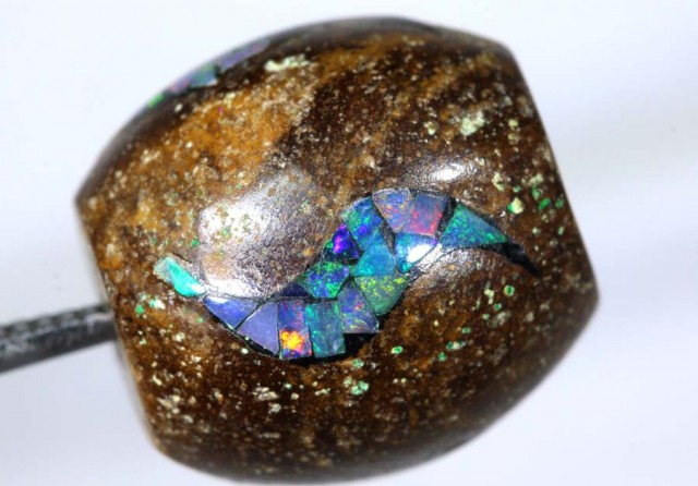 16.3 CT BOULDER OPAL DRILLED  INLAY BEAD LO-4318