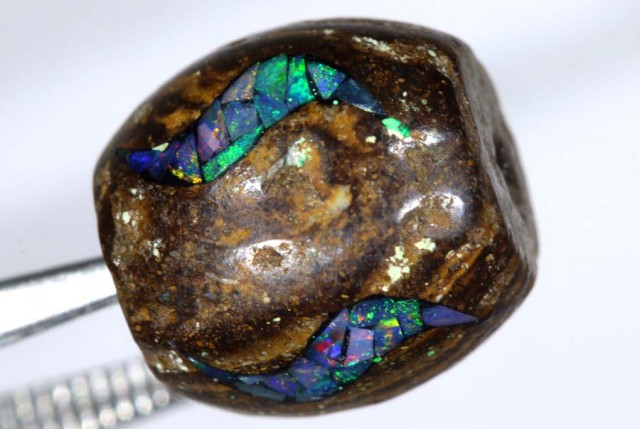 13.5 CT BOULDER OPAL DRILLED  INLAY BEAD LO-4319