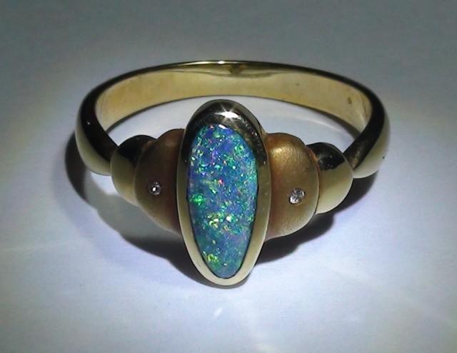 Gold Ring 18k Natural Gem Blue Green Boulder Opal 20.90ct