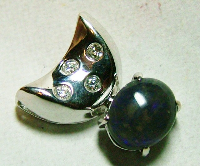 8.63 CTS SOLID OPAL AND CZ PENDANT/SILVER OF-2036