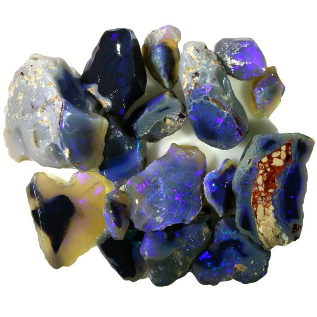 127.30 CTS  BLACK OPAL PARCEL ROUGH-BLUE [BR5578]