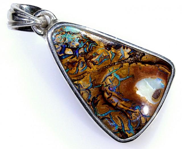 25ct 26x19mm Koroit Boulder Opal Silver Pendant [BPR-018]