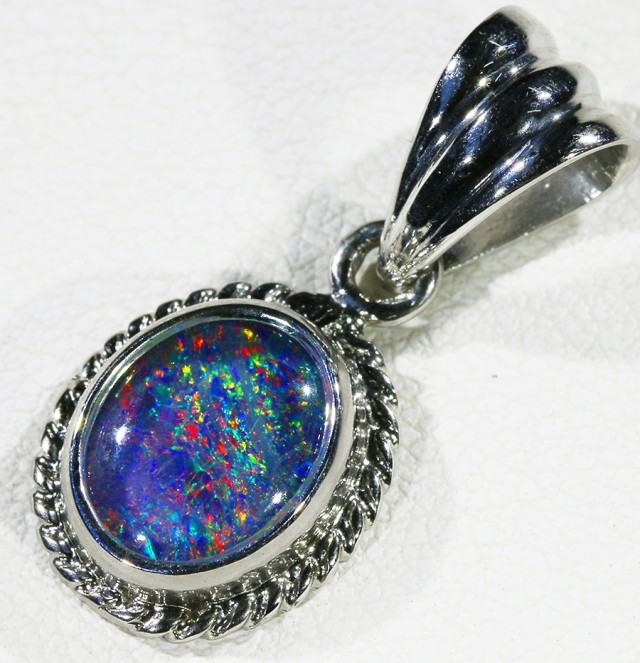 Cute Opal Triplet  into Sterling Silver pendant CF 1340