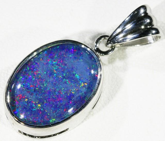 Cute Opal Triplet  into Sterling Silver pendant CF 1353