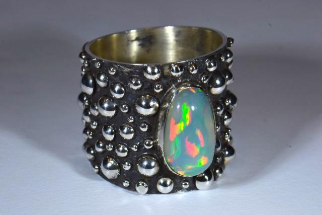 Sz13 Supreme Ethiopian Opal .925 Silver Taxco Handmade Quality Ring