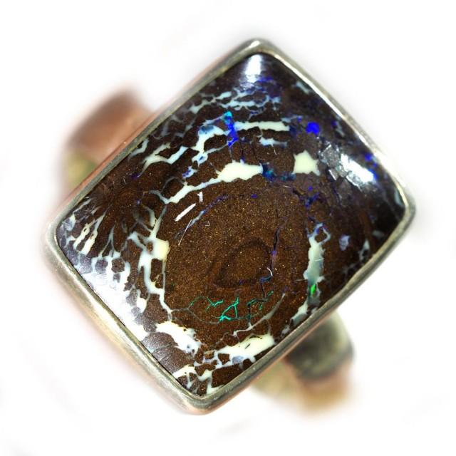 9 SIZE BOULDER OPAL RING -NATURAL-SILVER [SOJ5860]