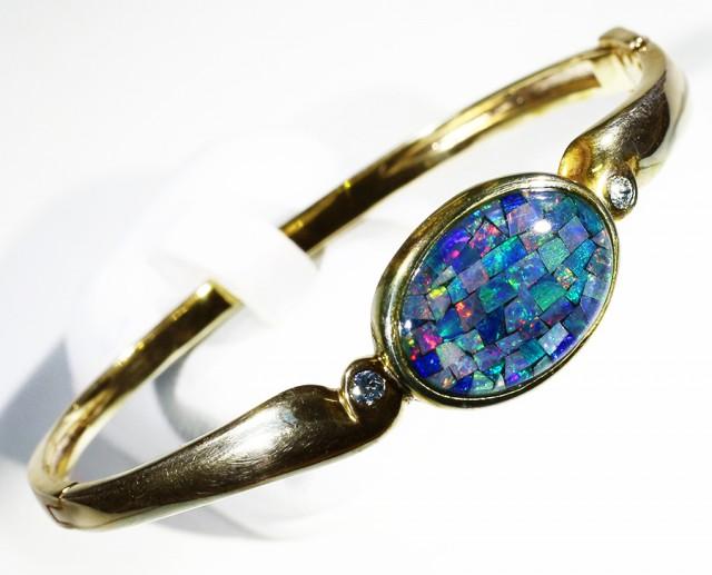 Australian Mosaic Opal Bangle CF A1359