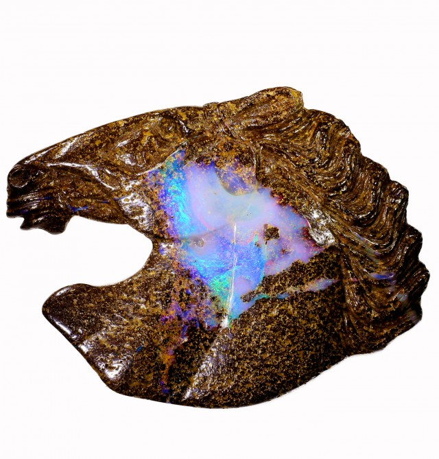 81.70 CTS HORSE HEAD BOULDER OPAL CARVING BB70