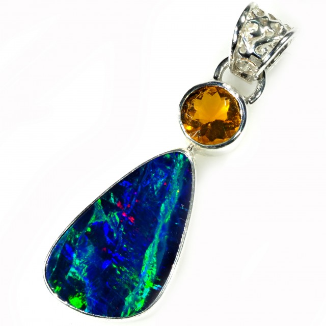 DOUBLET OPAL WITH MEXICAN OPAL PENDANTS - SILVER [SOJ5903]