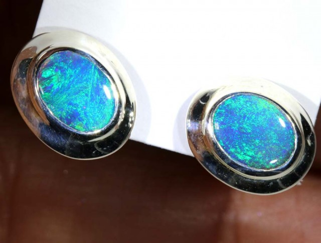 9.7 CTS BLACK OPAL SILVER EARRINGS OF-2072