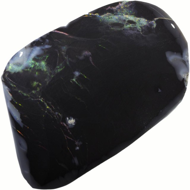 81.20 CTS BLACK  OPAL ROUGH -RUBBED/FACED LIGHTING PATTEN [BR5722]