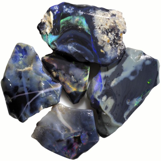 42.65 CTS BLACK  OPAL ROUGH PARCEL -RUBBED/FACED PICTURE STONES [BR5725]