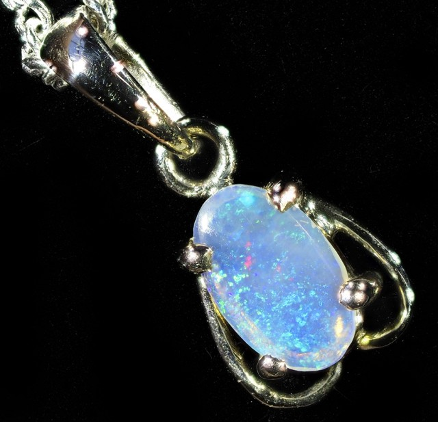 0.50CTS 18K WHITE GOLD  CRYSTAL  OPAL  PENDANT SETTING CF1371