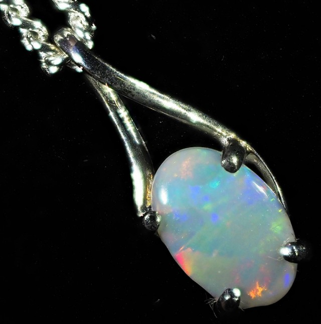 0.50CTS 18K WHITE GOLD  CRYSTAL  OPAL  PENDANT SETTING CF1374