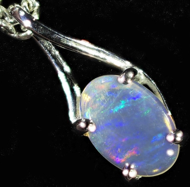 0.50CTS 18K WHITE GOLD  CRYSTAL  OPAL  PENDANT SETTING CF1385