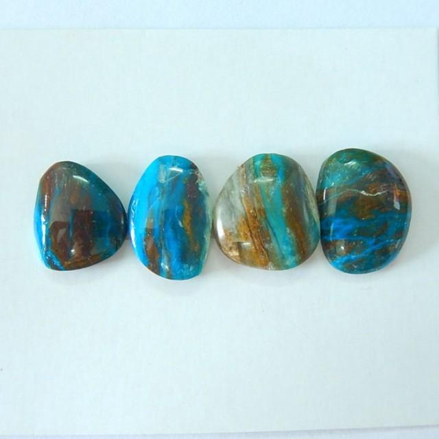 Sell 4pcs Natural Peruvian Opal Freeform Cabochons,Natural Semiprecious Blu