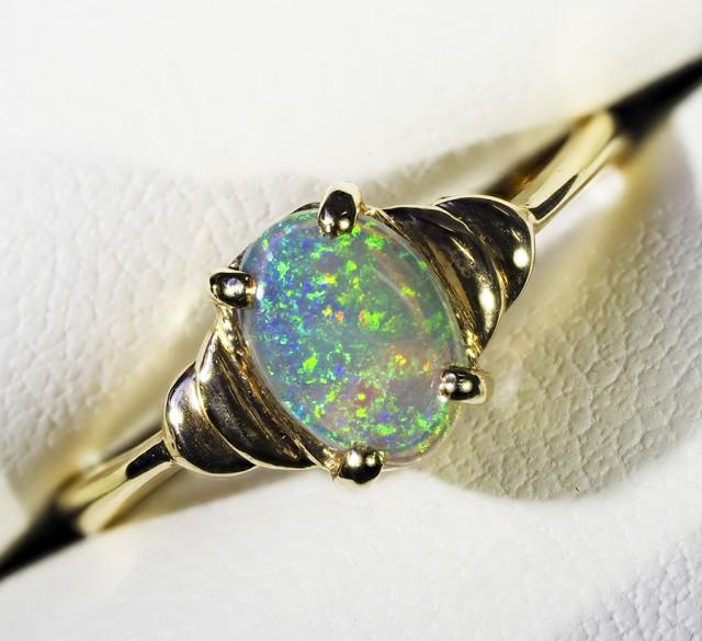 Cute crystal opal Ring 18 k gold  CF1395
