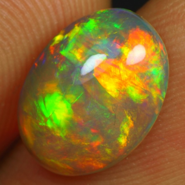 2.25cts 2 SIDED STRONG BRUSH FIRE Natural Ethiopian Welo Opal