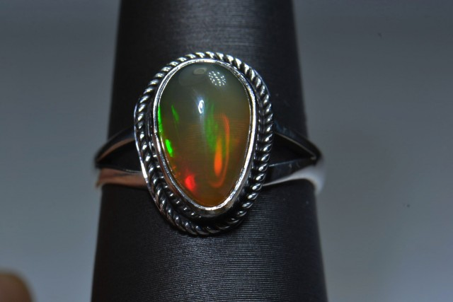 Sz 7. Natural Ethiopian Opal .925 Silver Taxco Handmade Boho Ring Jewelry