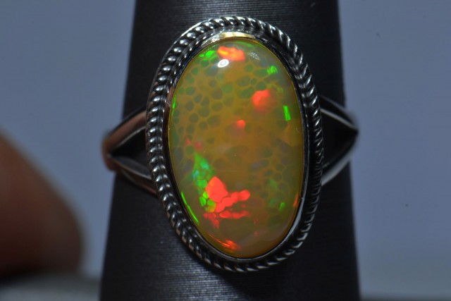 Sz 7 Natural Ethiopian Opal .925 Silver Taxco Handmade Boho Ring Jewelry