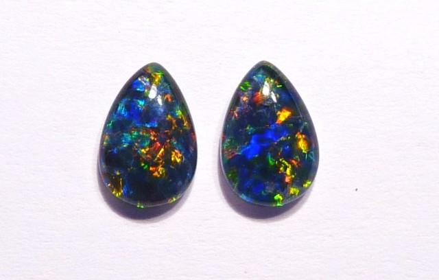 Pair of Australian Opal Triplets Gem Grade 9x6mm Pear Shape