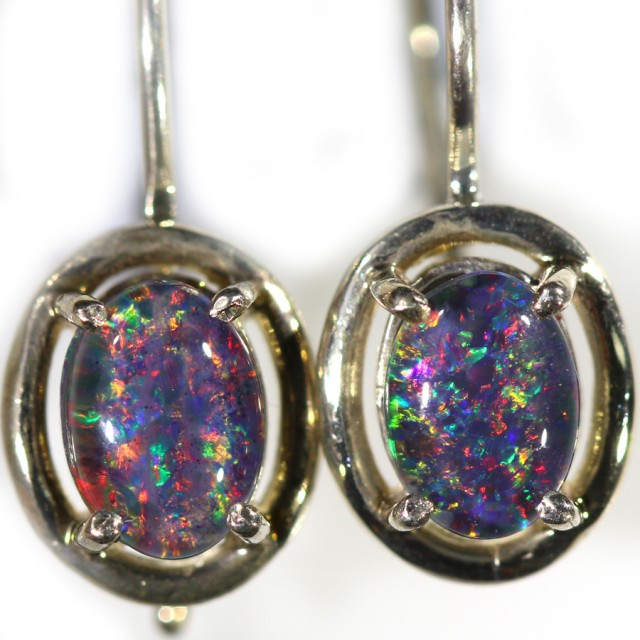Gem Opal Triplet set in Silver Earring CF1436