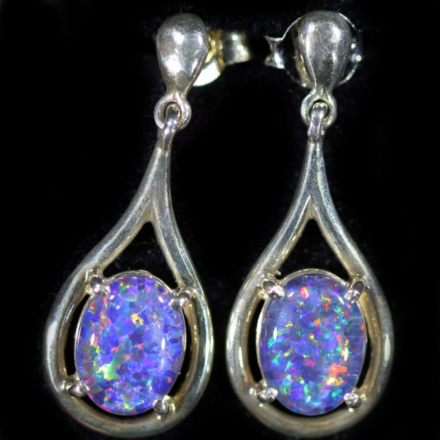 Gem Opal Triplet set in Silver Earring CF1438