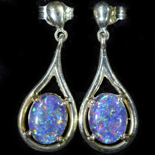Gem Opal Triplet set in Silver Earring CF1439