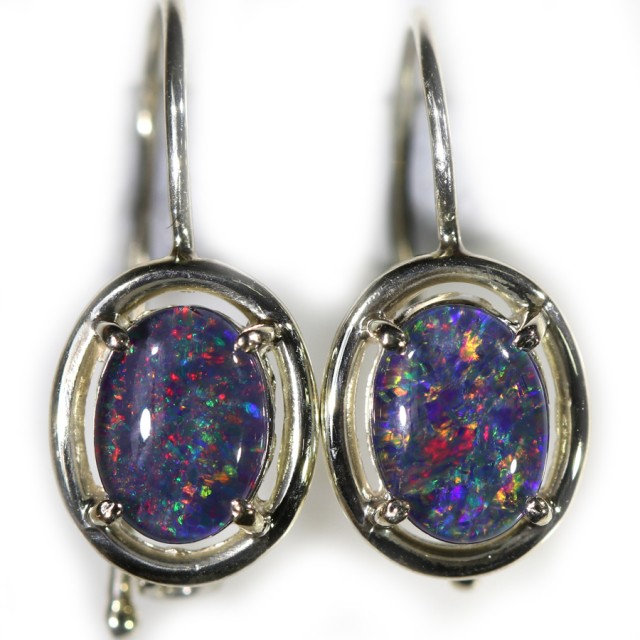 Gem Opal Triplet set in Silver Earring CF1442