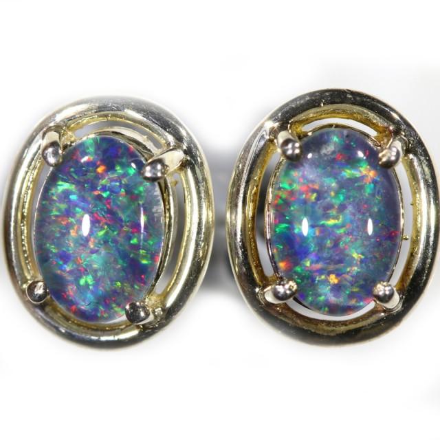 Gem Opal Triplet set in Silver Earring CF1448