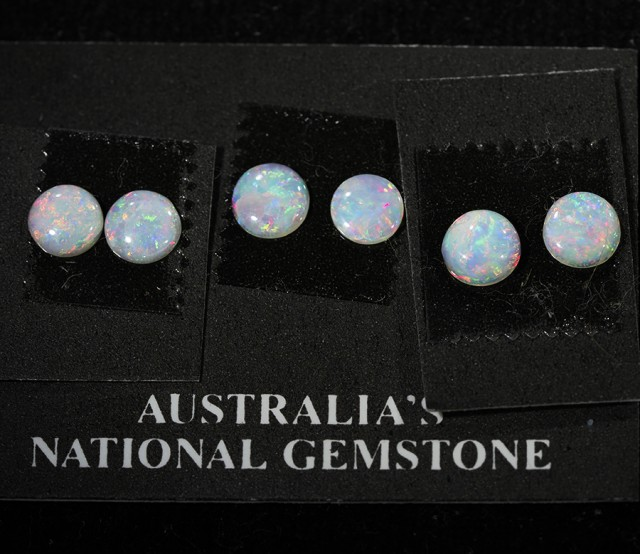 3 pairs Crystal fire  opal pairs   QOM 1636