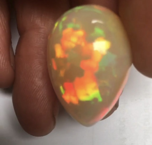 41.87ct Brilliant 5/5 Puzzle/Mix Patterns Welo Ethiopia Opal Pear Shape Cab