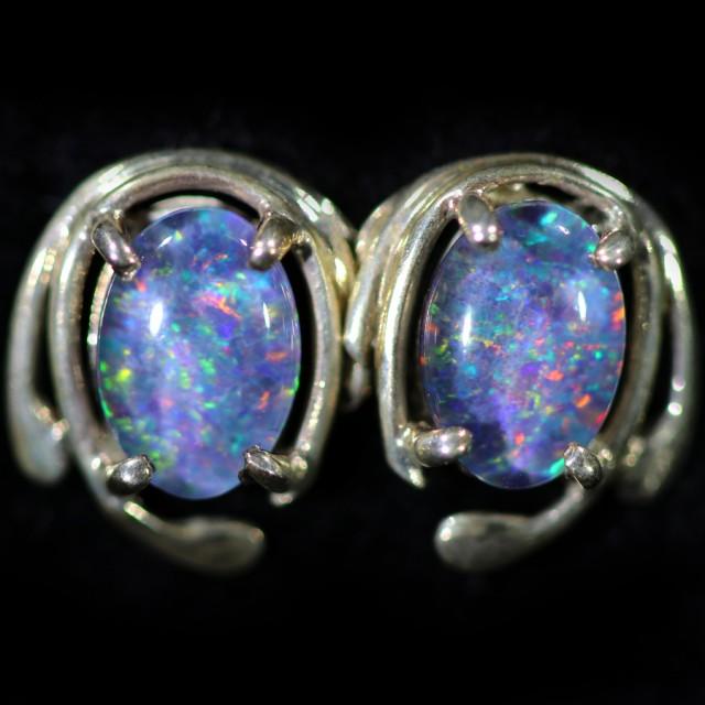 Gem Opal Triplet set in Silver Earring CF1459