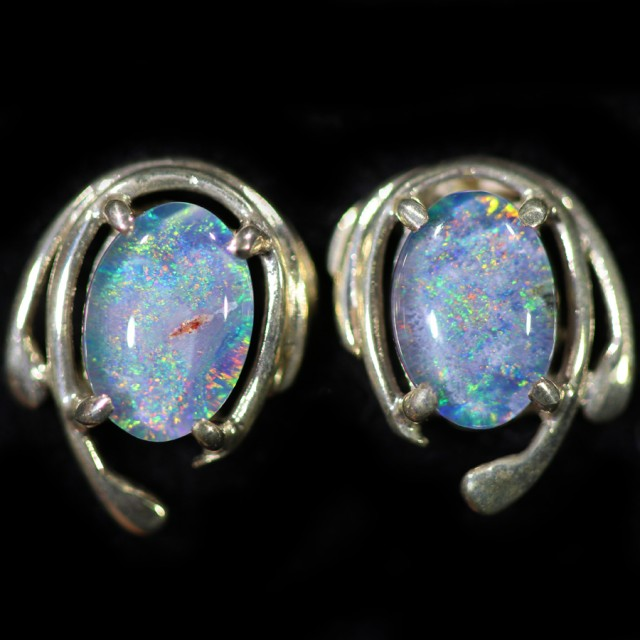 Gem Opal Triplet set in Silver Earring CF1460