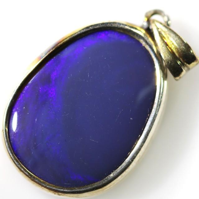 Black Opal set in Silver Pendant CF1485