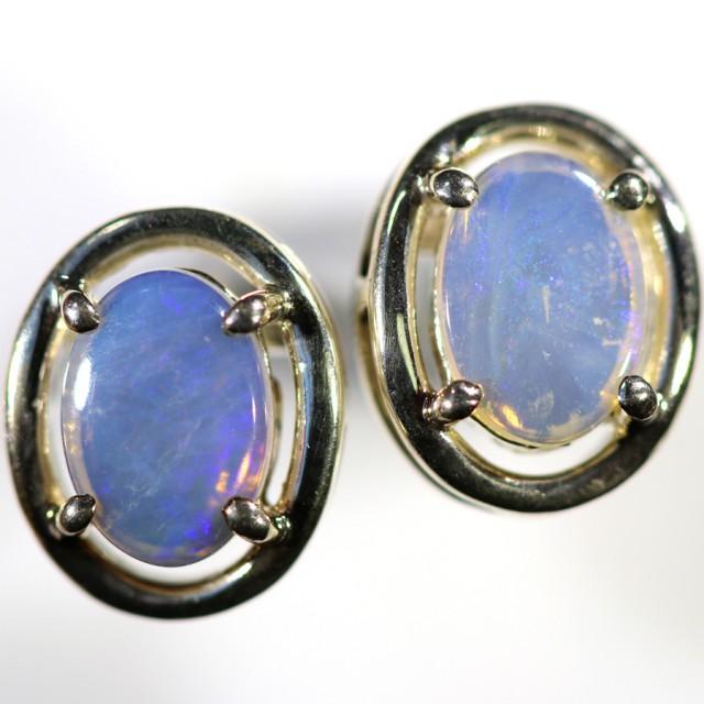Crystal opal earrings set in silver CF1495