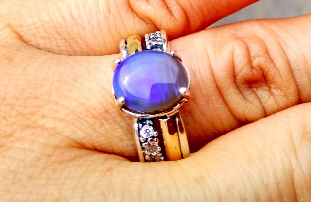 OPAL RING Australian natural solid opal TWO TONE 925-9K