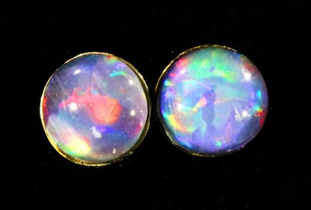 Triplet  Opal set in 18k yellow gold Earring CF1528