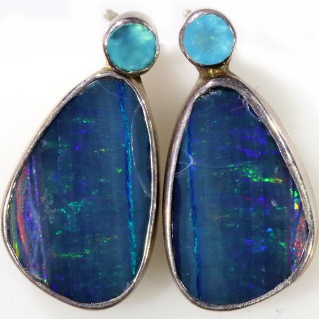 13.55 CTS OPAL DOUBLET AND PARABIA CHALCENDONY EARRING [SOJ5992]