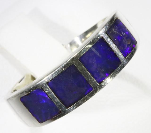 Gem Opal Crystal inlay Set in Silver Ring CF1534