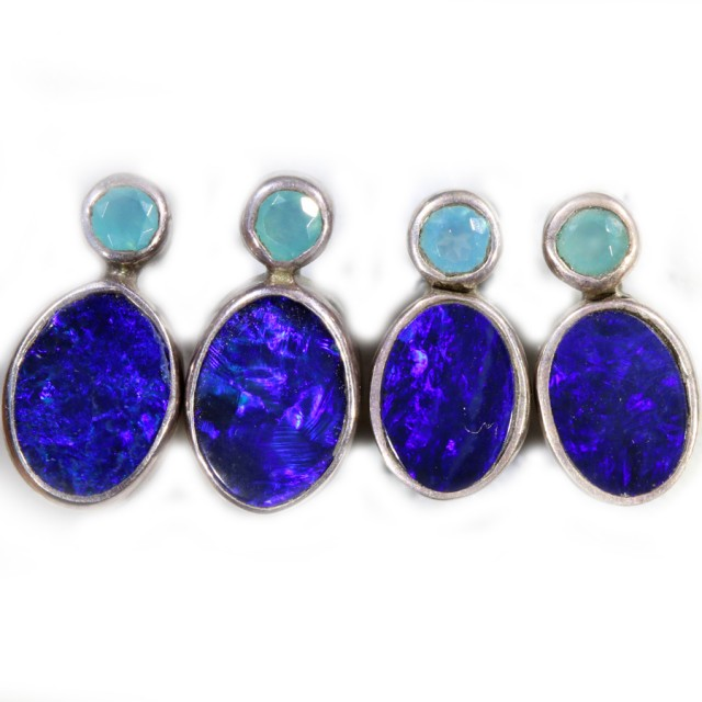 16.85 CTS OPAL DOUBLET AND PARABIA CHALCENDONY EARRING PARCEL [SOJ5999]