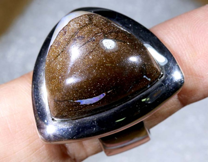 120CTS BOULDER OPAL SILVER RING OF-2105