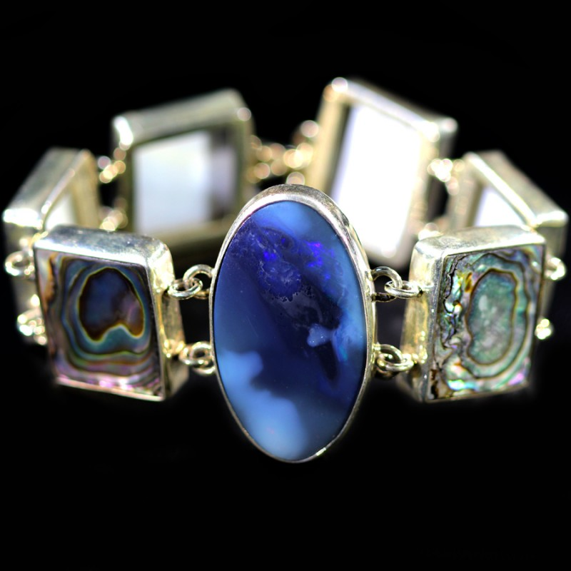 218.80 CTS  BLACK OPAL BRACELET   -ADJUSTABLE SOJ6082