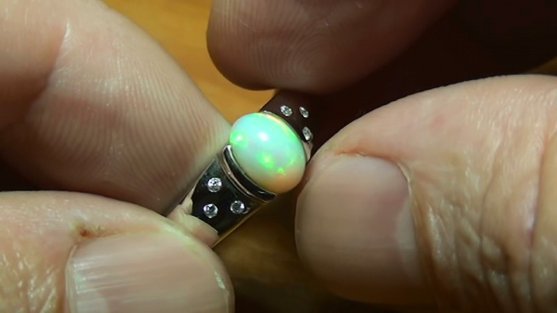 MEN'S Stunning 925 Silver Bright Multi Color Welo Ring
