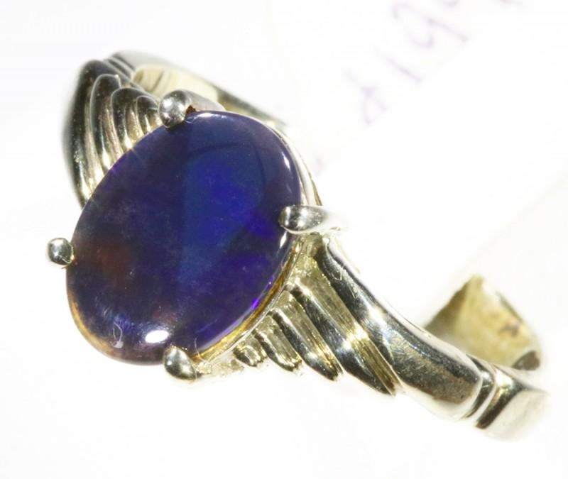 Solid Black Opal set in silver CF 1662