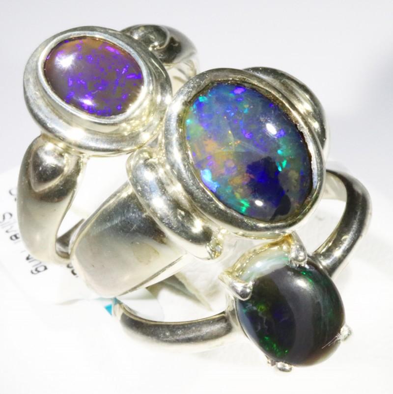 Three Cute Solid Opal Rings CF1675
