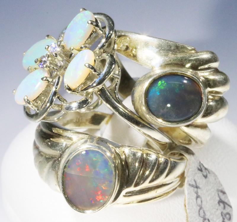Three Cute Solid Opal Rings CF1679