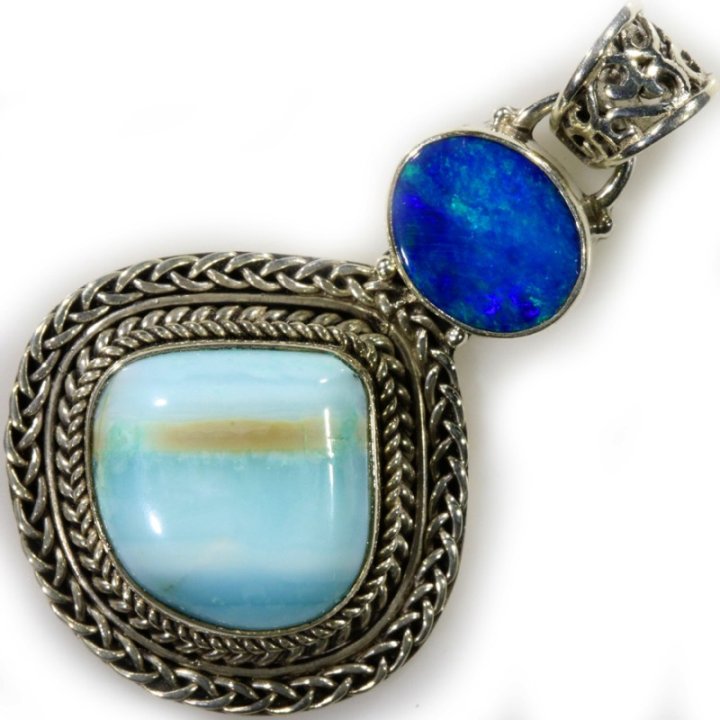 37.15 CTS DOUBLET AND PERU BLUE OPAL PENDANT -FACTORY DIRECT [SOJ6104]