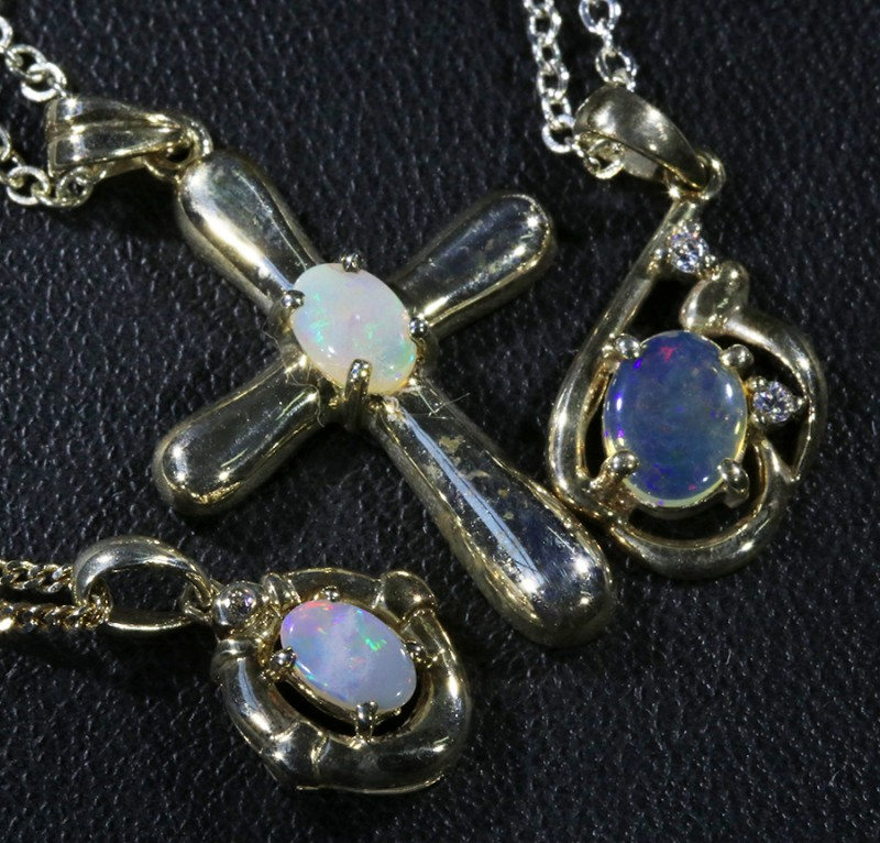 Three lovely Opal  Crystal set in Silver Pendants CF1728