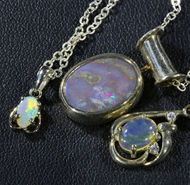 Three lovely Opal  Crystal set in Silver Pendants CF1729